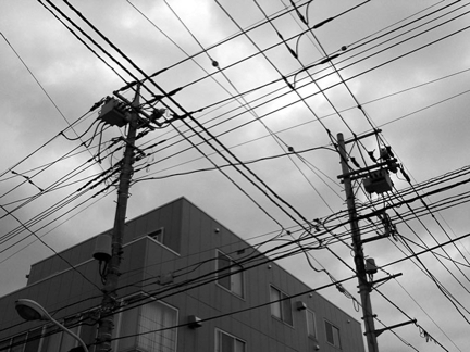 wires & an overhead photo of suburban Tokyo