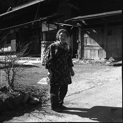 photo of an old woman living in the Japanese mountain village Hinohara
